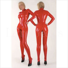 4c6ce786ab LarpGears Woman 100% Natural Latex Catsuit Red 2 way Back Zipper with Socks  Sexy