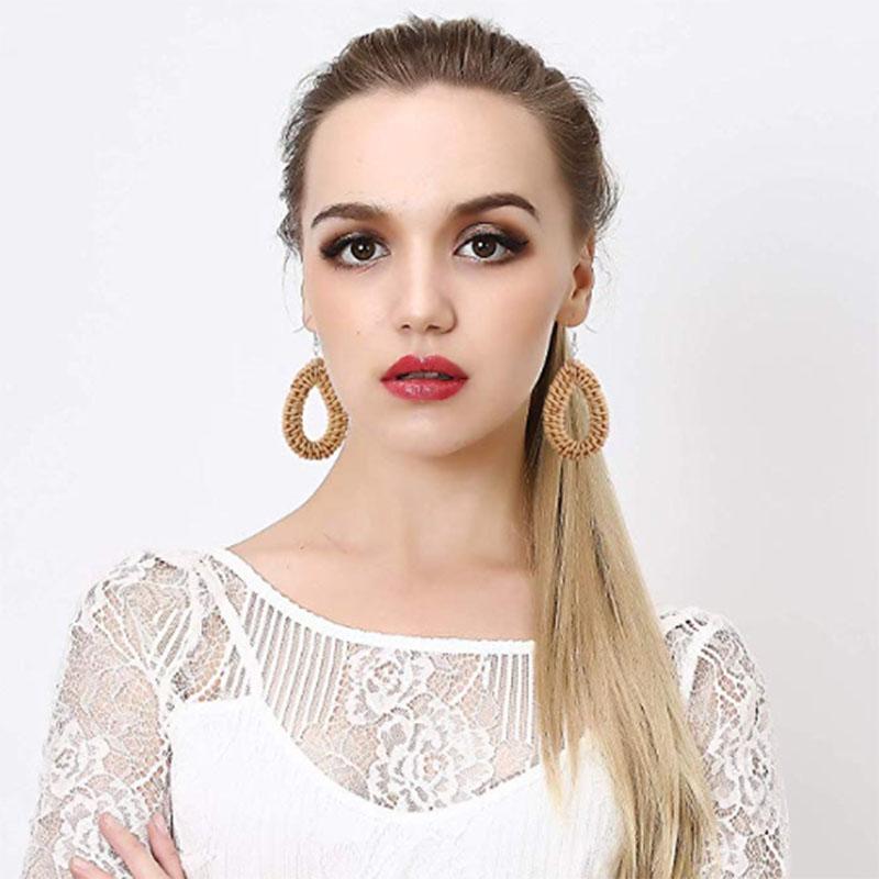 Bohemian Wicker Rattan Knit Pendant Earrings Handmade Wood Vine Weave Geometry Round Statement Long Earrings for Women Jewelry 18