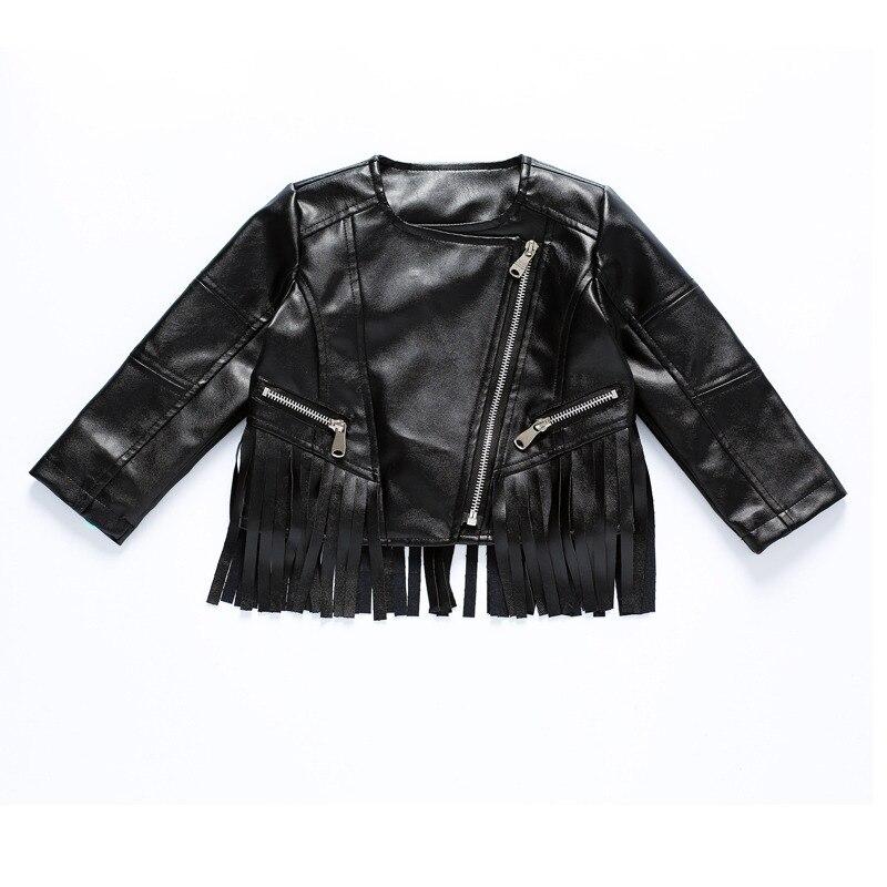 2018 outono bebê meninas jaqueta pu franjas jaqueta com zíper fresco jaqueta  de couro roupas de c6d7a26f4e8