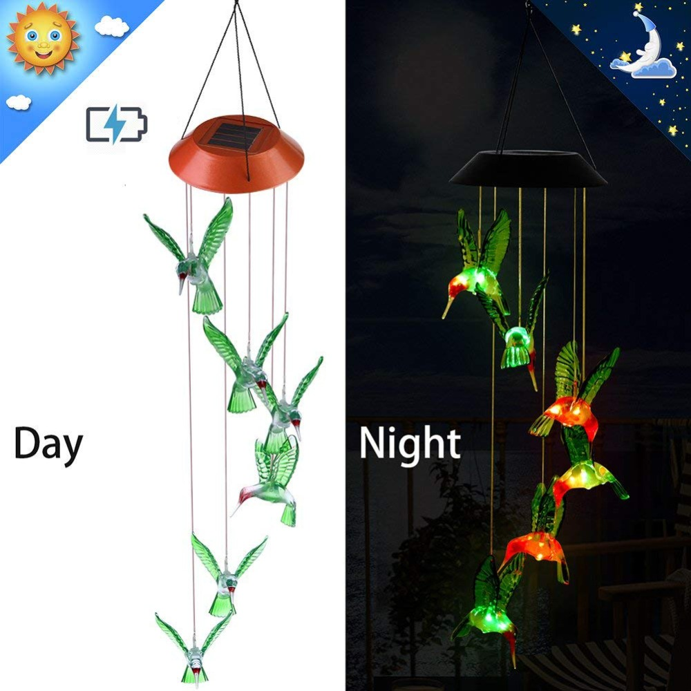 PANYUE Solar Lamp Color Changing LED Wind Chimes Light Outdoor Home Garden Decoration Powered Chime