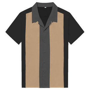 Image 1 - チャーリーハーパーシャツ縦ストライプのシャツ男性 50 ロカビリーシャツボタンダウン綿シャツ半袖ヴィンテージドレス