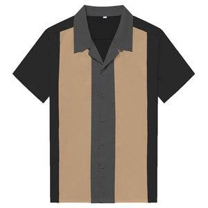Image 1 - Charlie Harper koszula w paski w pionowe paski koszule dla mężczyzn 50s Rockabilly guzik do koszuli w dół bawełniane koszule z krótkim rękawem w stylu Vintage sukienka