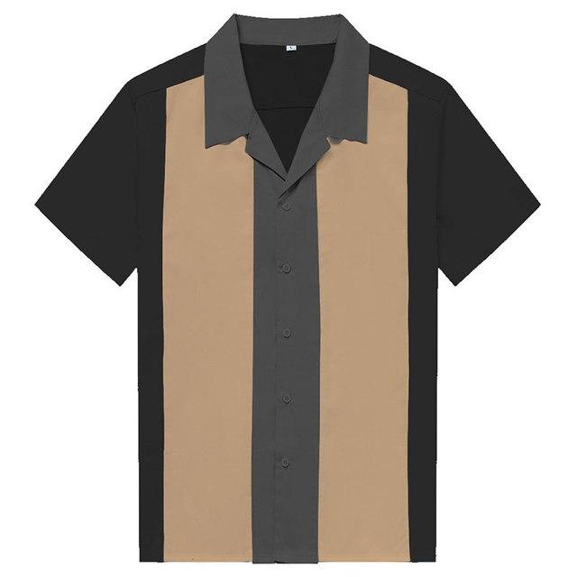 Charlie Harper koszula w paski w pionowe paski koszule dla mężczyzn 50s Rockabilly guzik do koszuli w dół bawełniane koszule z krótkim rękawem w stylu Vintage sukienka