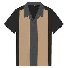 Charlie harper camisa listrado vertical camisas para homem 50s rockabilly camisa botão para baixo algodão camisas de manga curta vintage vestido
