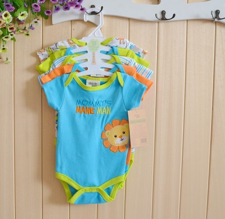 New 5pcs/lot Baby Rompers Short Sleeve Cotton Overalls for Newborn Baby Girl Boy Clothes Body Bebes infantil menina Jumpsuits