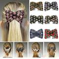 Chic Stretch Rose Flower Bow Glass Bead Hair Head Comb Cuff Double Insert Clips  1OU2