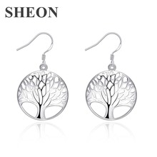 SHEON Hot Sale Trendy Simple Classic Round Hollow Tree Of Life Drop Earrings for Women Fashion Jewelry
