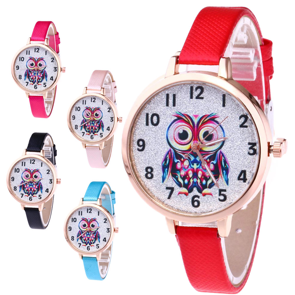 Girl Cute Watches Student Lovely Bracelet Watches Owl Pattern Quartz Wrist Watch Casual PU Leather Strap Watches Gifts LL@17 cute owl pattern pu leather case for iphone 5 5s white light green multi colored