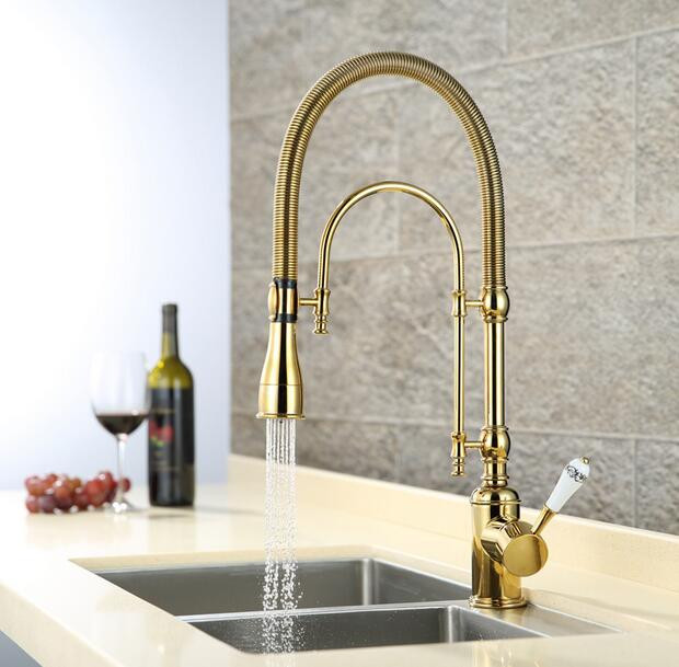 European style brass Gold Chrome finished kitchen faucet dish basin spring cold heat sink multi function