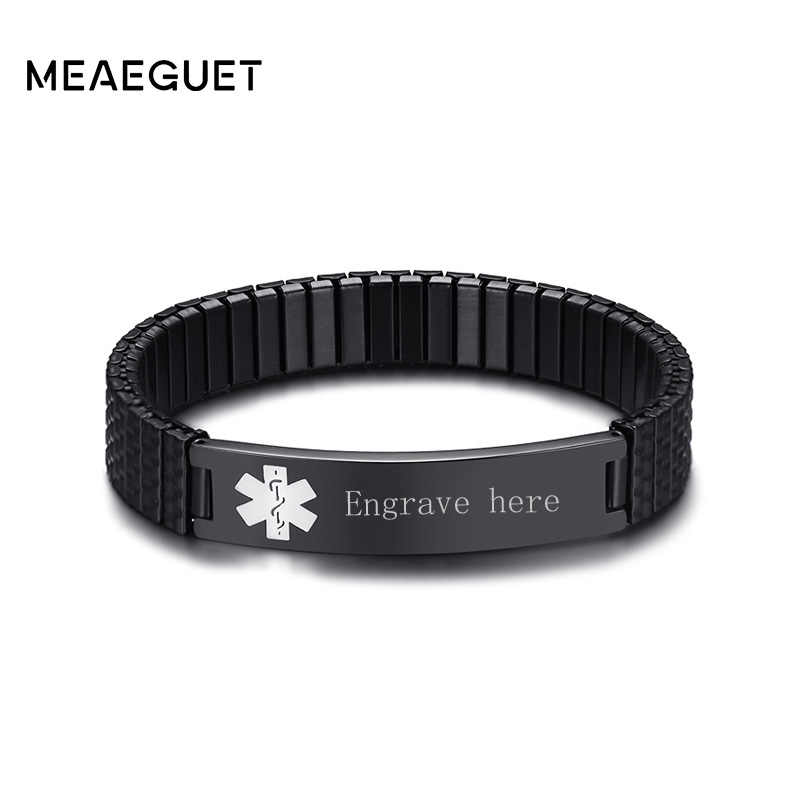Personalized Men Bracelet Medical Alert ID Bangle Wristbands For Diabetic Stainless Steel Elasticity Name Bracelet Watchband
