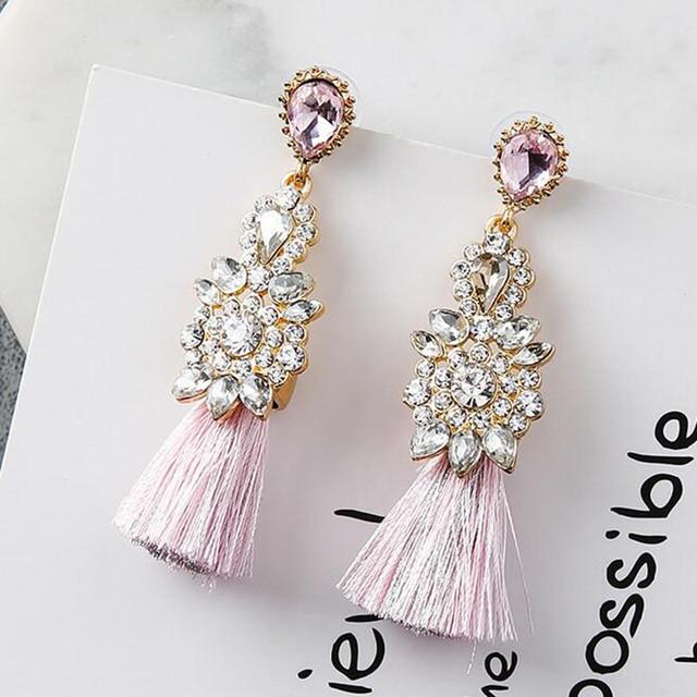 Full Rhinestone Tassel Earrings