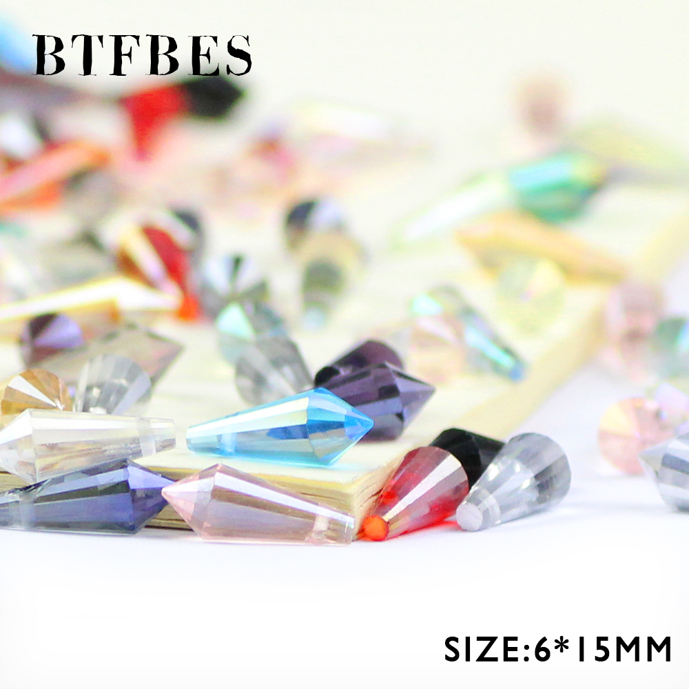 BTFBES Long Cone Waterdrop Pendant Austrian Crystal Beads 6*15mm 50pcs Spire Glass Loose For Jewelry Making Bracelet DIY