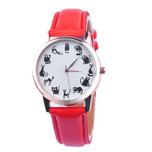 Fashion Casual Watches Women Lovely Cat Leather Sport Quartz Wrist Watches