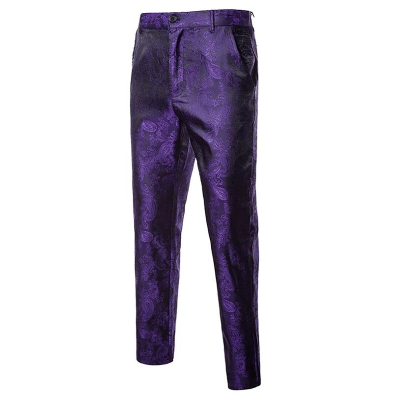 2019 New Mens Flower Pants Purple Red Black Autumn And Spring Male Dress Pant M L XL XXL XXXL