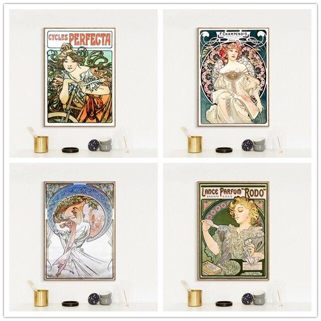 Alphonse Mucha pósteres y estampados grandes de estilo antiguo Art New Veau réplica fina cuadros de pintura de Arte de pared para la decoración del hogar de la sala de estar