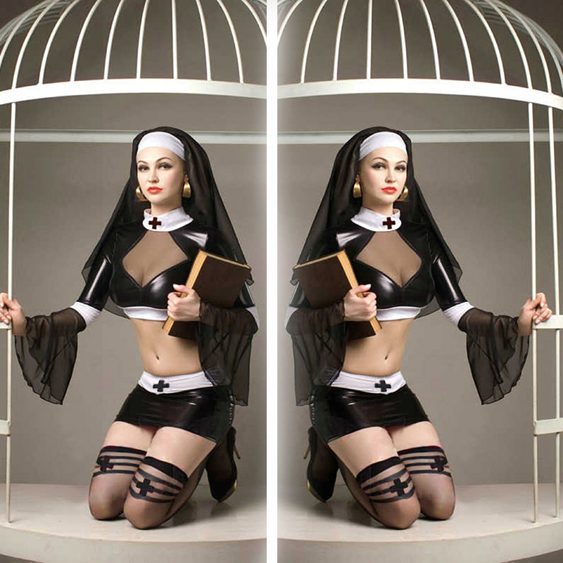 New Design Halloween Nun Cosplay Fashion Vinyl Faux Leather Mini Dress Cosplay Clothing Black Fantasy and Sexy Cosplay Costume
