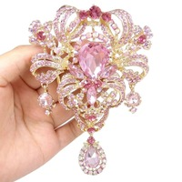 Bella 2015 Pink Bridal Golden Plated Flower Rhinestone Brooch Pins Austrian Crystal Hollow Charm Brooches For