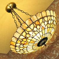 European Garden Shell Pendant Tiffany color lighting living room / bedroom / study 20 special pearl flower lamp