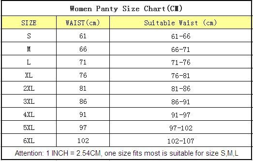 women panty size chart