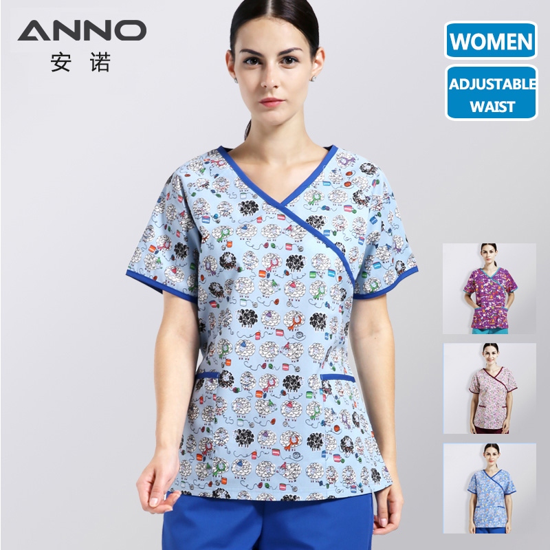 ANNO Nurse Uniform Women With Adjustable Waist Nursing Scrub Clothes Dentistry Clinic Uniform Medical Supplies Slim Fit