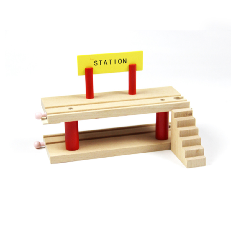 P125 Double wooden deck station with S compatible track fit Thomas and Brio Wooden Educational Train Boy's educational toys