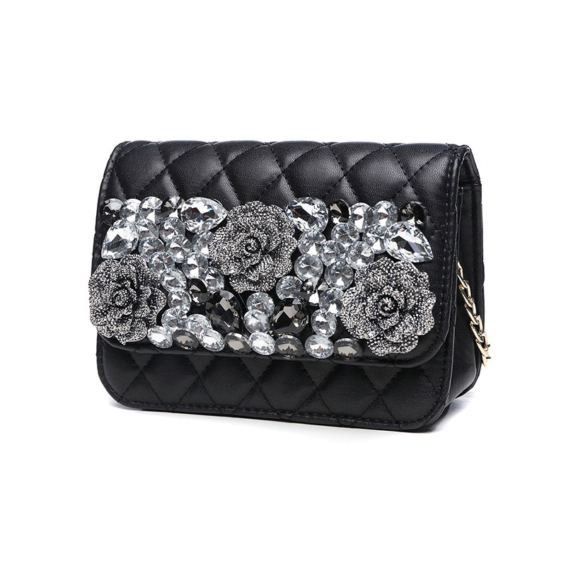 цены High Quality PU Leather Shoulder Bag Diamond Rose Luxury Hand Bags Women Crossbody Small Messenger Bags Evening Clutch Bag Flap