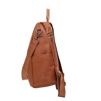 BERAGHINI Retro Women Leather Backpack - College Preppy School Bag for Students Laptop - Girls or Ladies Daily Back Pack for Shop Trip 1