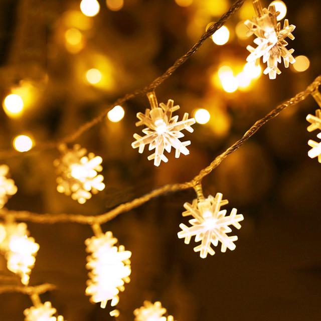 10M 100pcs Snowflakes Fairy String Light Garland outdoor Snow Shaped  Christmas String Light for Wedding Party Holiday Festival - 10M 100pcs Snowflakes Fairy String Light Garland Outdoor Snow Shaped