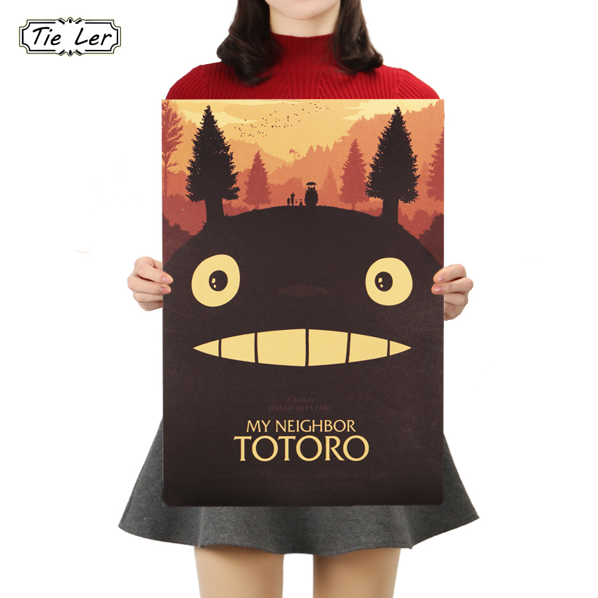 TIE LER Totoro E Style Kraft Paper Vintage Classic Cartoon Film Poster Bar Cafe Decorative Painting Wall Sticker 50.5X35cm ...