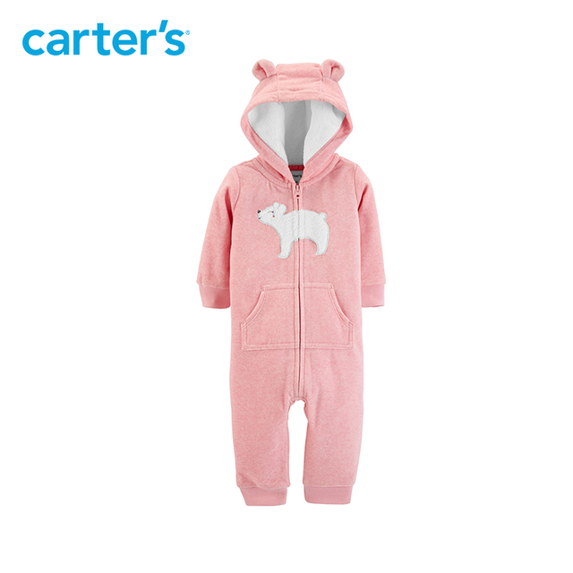 80d9681292 Carter s 1 piece pink rabbit ears hooded fleece rompers long sleeve jumpsuits  Baby girl clothing autumn