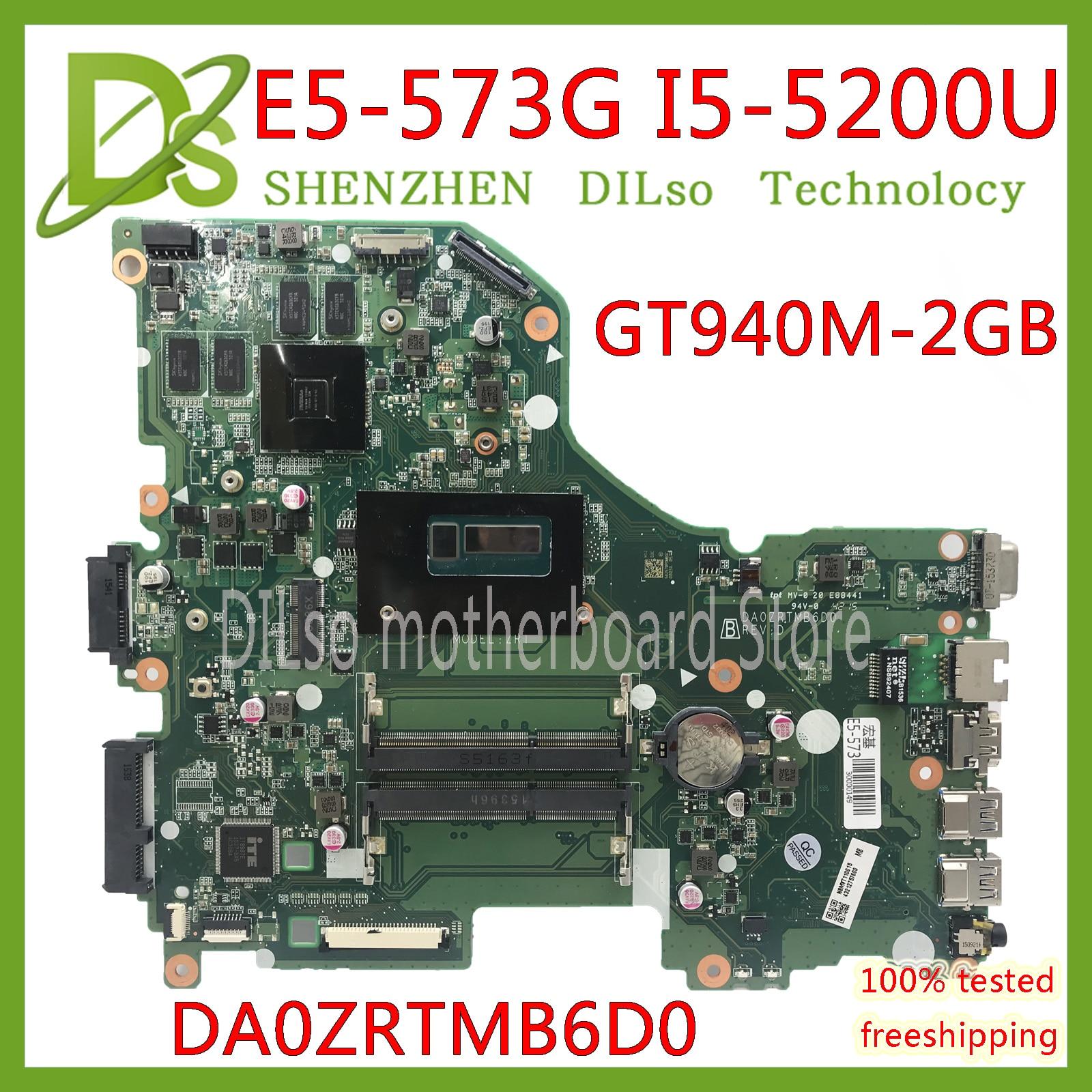 KEFU E5-573G Mainboard For Acer Aspire E5-573G E5-573 Motherboard I5-5200U GT940M -2GB DA0ZRTMB6D0 Test Work 100% Original