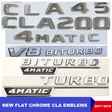 Logo de Turbo d'autocollants d'emblème de voiture automatique C117 CLA Emblema de Chrome plat CLA180 CLA200 CLA220 CLA250 CLA45 pour Mercedes Benz AMG(China)