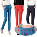 J2FE220#8058 2016 New Women Classic Full Length Harem Pants Fashion Elastic High Waist Casual Solid Color Female Trousers Capris