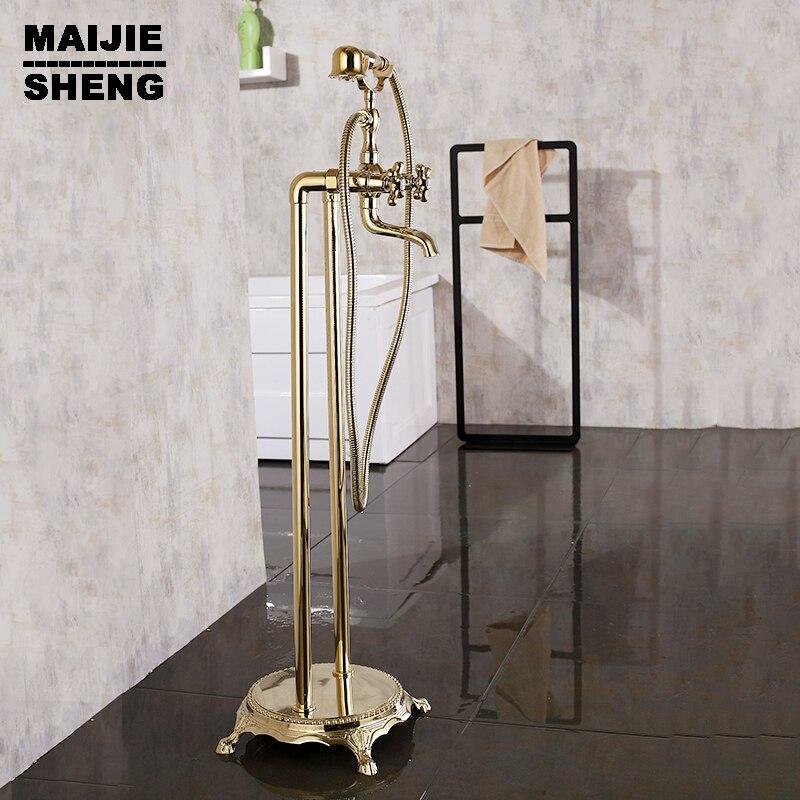 Смеситель для душа латуни душ Luxury Ванна стенд кран Золотой Латунь напольная подставка для ванной кран для ванной стенд кран