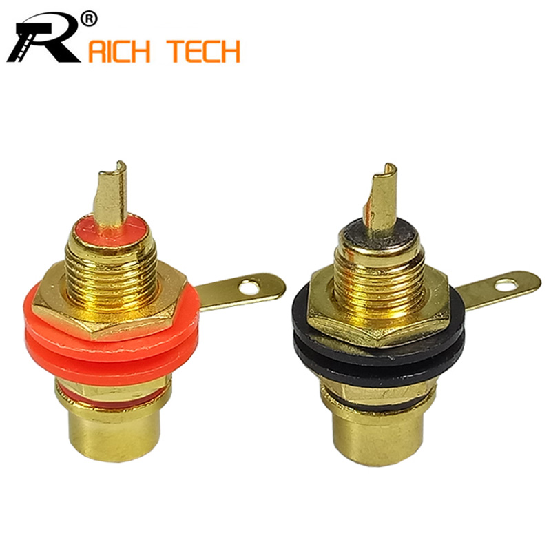 1pair Gold plated RCA Jack Connector Panel Mount Chassis Audio Socket Plug Bulkhead with NUT Solder CUP Wholesale 2pcs купить