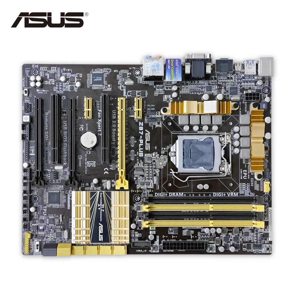 Asus Z87-PLUS Original Used Desktop Motherboard Z87 Socket LGA 1150 i5 i7 E3 DDR3 32G SATA3 USB3.0 ATX On Sale asus z87m plus original used desktop motherboard z87 socket lga 1150 i7 i5 i3 ddr3 32g sata3 usb3 0 micro atx
