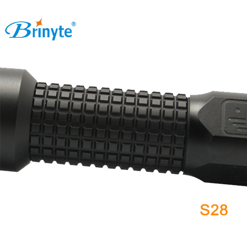Brinyte S28 Outdoor Military Torch Light Cree XM-L2 U4 LED Police Search and Rescue Flashlight with 18650 Battery and Charger