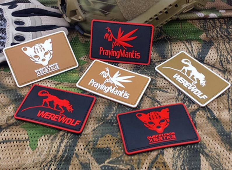 Praying Mantis Badge Werewolf Military PVC Rubber 3D Tactical Hook And Loop Badge Army Morale Armband Black Coyote Brown 6pcs