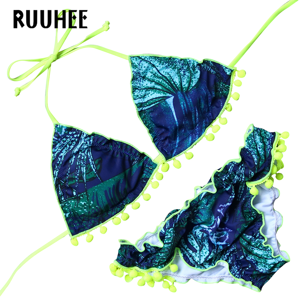 RUUHEE Sexy Women Bikini Set Push Up Swimsuit Bandage Printing Swimming Suits Bathing Suit Swimwear Women  Bikini With Pad ruuhee hot sexy bikini beach swimwear women bandage swimsuit bathing suit bikini set push up printing female swim wear