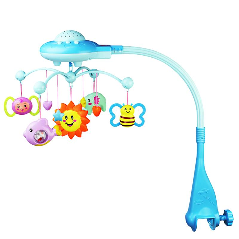 Musical Crib Mobile Toy Toddler Bed Bell Rattles Projection Toy Cartoon Early Learning Toys for Baby Newborn (Blue)