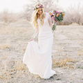 2016 Пляж Boho Свадебные Платья свадебные Оболочка Богемный Стиль Кружева Длинными Рукавами Свадебные Платья