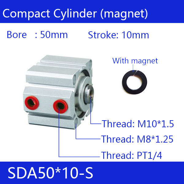 цена на SDA50*10-S Free shipping 50mm Bore 10mm Stroke Compact Air Cylinders SDA50X10-S Dual Action Air Pneumatic Cylinder