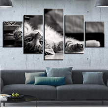 HD Printing Decor For Living Room Home 5 Pieces Lovely Cat Animal Paintings Modern Canvas Pictures Modular Frame Poster Wall Art