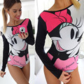 Hot Sale Long Sleeve Bodysuits 2017 European New Fashion Cartoon Printed Women Rompers Casual Sexy Bodycon Jumpsuits 40851
