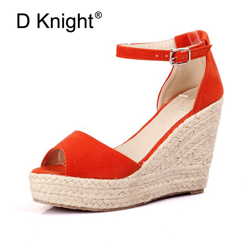 Big Size 32-44 Elegant Women's Open Toe Straw Braid Wedges Sandals Velvet Platform Wedges Summer Shoes Woman High Heels Sandals