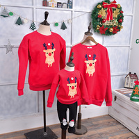 Winter family look matching mom Christmas sweater wholesale deer velvet father mother daughter son outfits family clothing