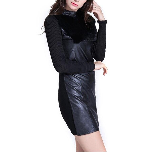 Mini dress novo modelo pu costura de couro além de veludo ...