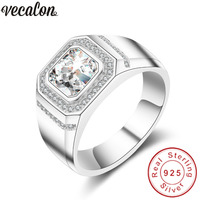 Vecalon Fashion Jewelry Wedding Band Ring For Men 2ct Diamonique Cz 925 Sterling Silver Male Engagement