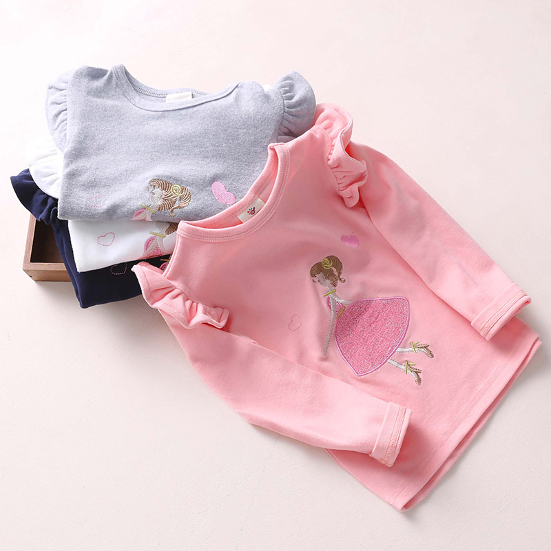 2018 Frühling Herbst 2-10 Jahre Alte Baby Kinder Kleidung Lange Puff Ärmel Einfarbig Cartoon Grundlegende T Shirts Für Kinder Mädchen Einfach Und Leicht Zu Handhaben