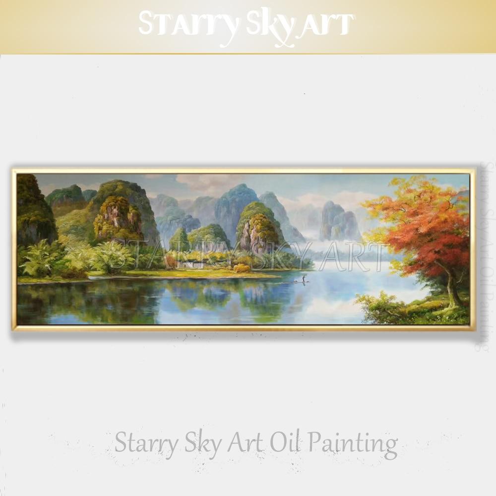 Trasporto Libero dipinto A mano Impressionista Cina Paesaggio Lago Pittura A Olio su Tela di Canapa Cina Naturale Scena Pittura a Olio di Paesaggio